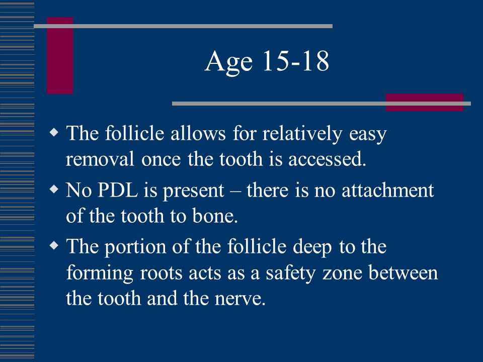 Age 15-18 The periphery of the deepest mineralized tooth surface may be quite sharp, allowing laceration of the neurovascular bundle if it too is housed within the follicular space.