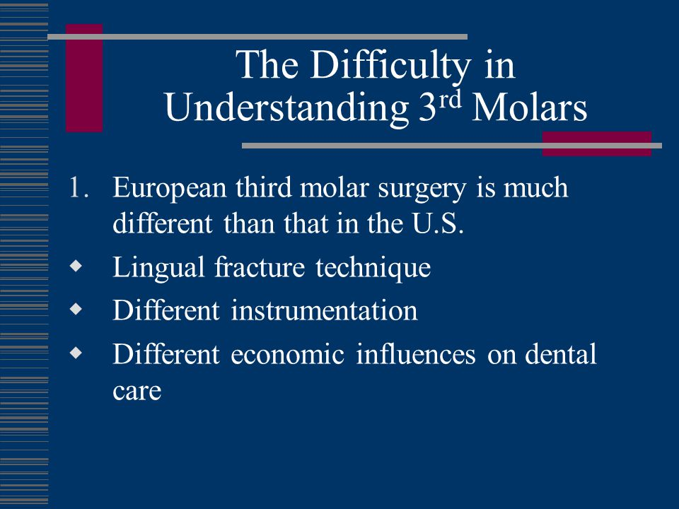 The Difficulty in Understanding 3 rd Molars 2.