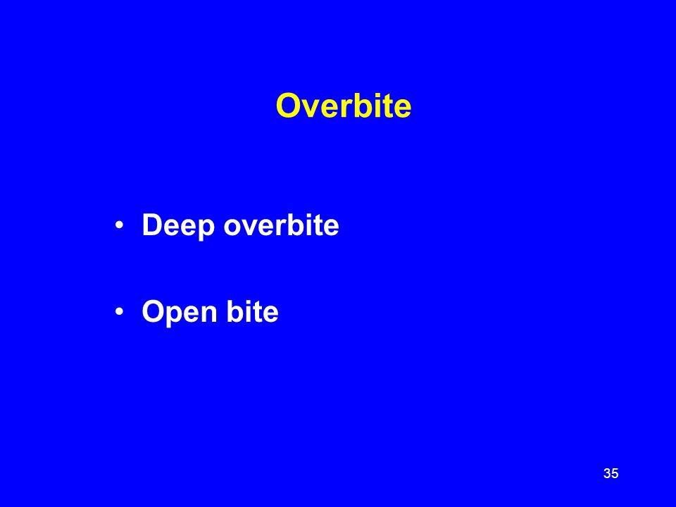 Overbite Deep overbite Open bite 35