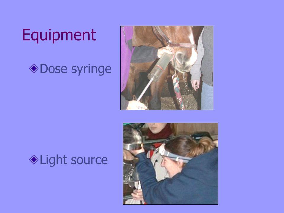 Equipment Dose syringe Light source