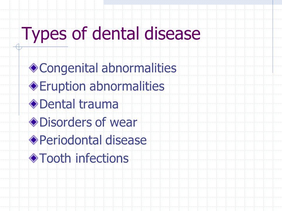 Types of dental disease Congenital abnormalities Eruption abnormalities Dental trauma Disorders of wear Periodontal disease Tooth infections