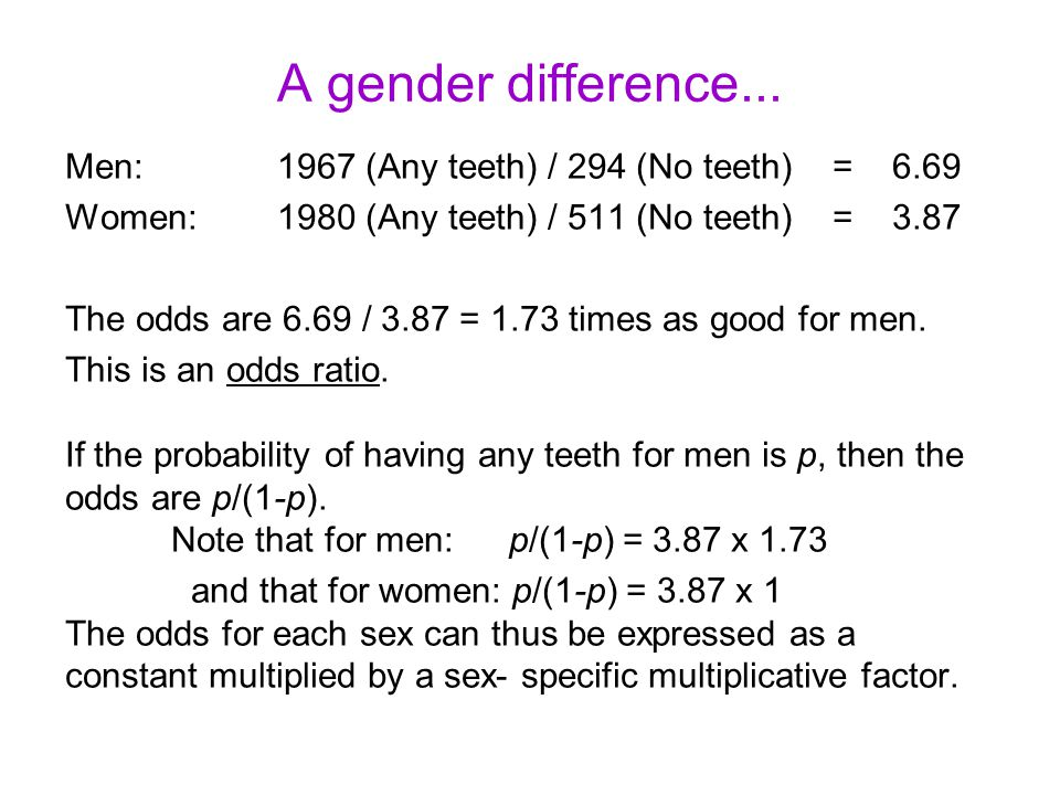 A gender difference... Men: 1967 (Any teeth) / 294 (No teeth) = 6.69 Women:1980 (Any teeth) / 511 (No teeth) = 3.87 The odds are 6.69 / 3.87 = 1.73 ti