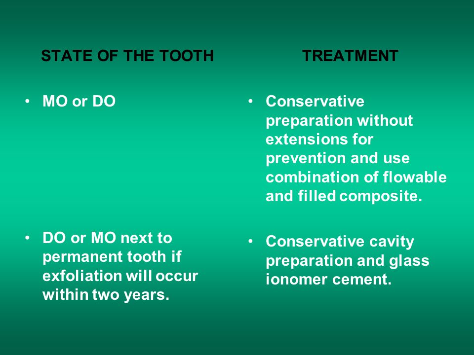 STATE OF THE TOOTH MO or DO DO or MO next to permanent tooth if exfoliation will occur within two years. TREATMENT Conservative preparation without ex