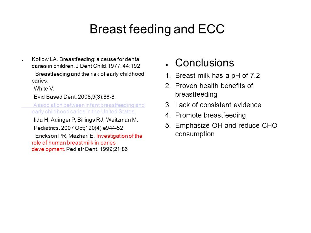 Breast feeding and ECC Kotlow LA. Breastfeeding: a cause for dental caries in children.