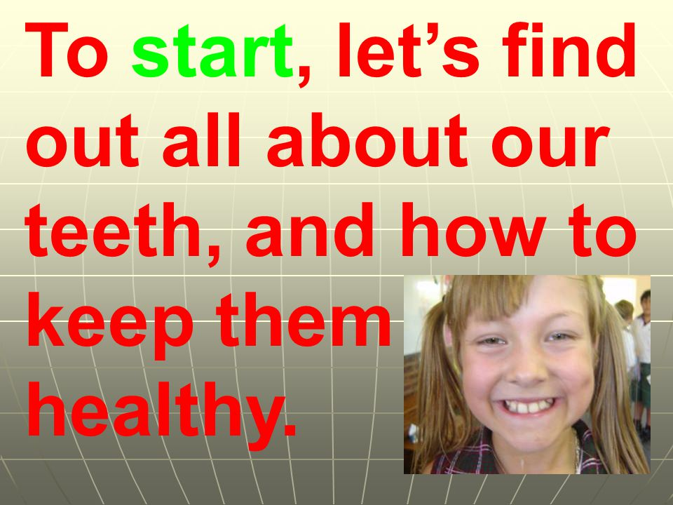 To start, lets find out all about our teeth, and how to keep them healthy.