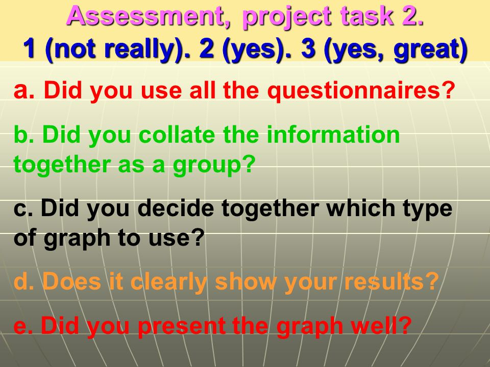 Assessment, project task 2. 1 (not really). 2 (yes).