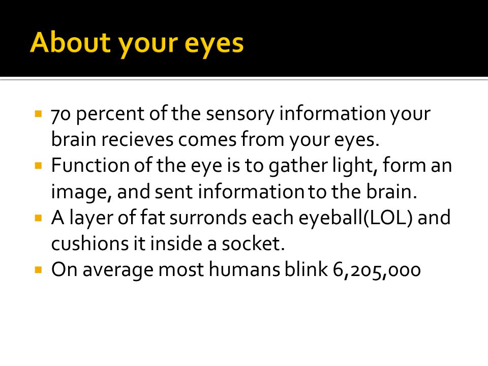 70 percent of the sensory information your brain recieves comes from your eyes.