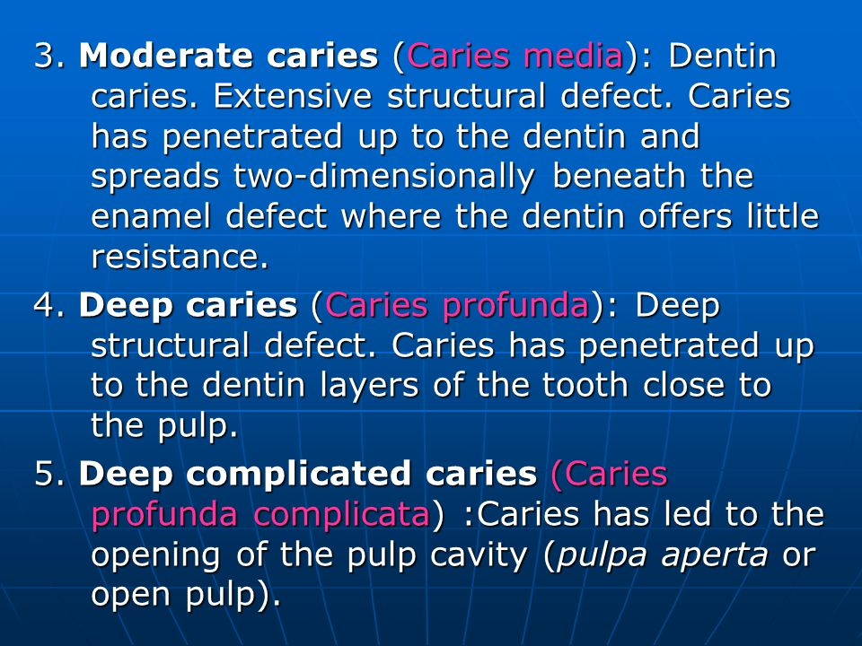 3. Moderate caries (Caries media): Dentin caries. Extensive structural defect. Caries has penetrated up to the dentin and spreads two-dimensionally be