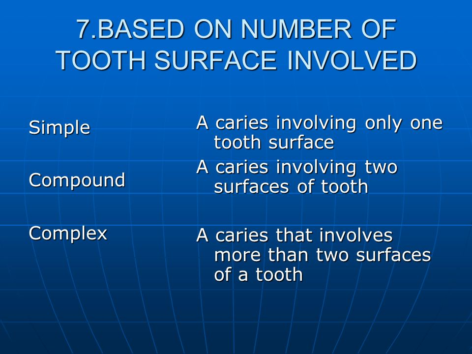 7.BASED ON NUMBER OF TOOTH SURFACE INVOLVED SimpleCompoundComplex A caries involving only one tooth surface A caries involving two surfaces of tooth A