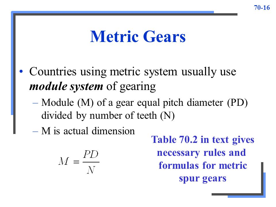 70-16 Metric Gears Countries using metric system usually use module system of gearing –Module (M) of a gear equal pitch diameter (PD) divided by numbe