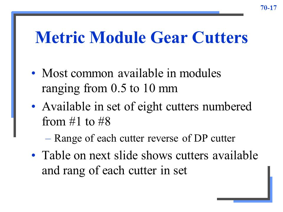 70-17 Metric Module Gear Cutters Most common available in modules ranging from 0.5 to 10 mm Available in set of eight cutters numbered from #1 to #8 –
