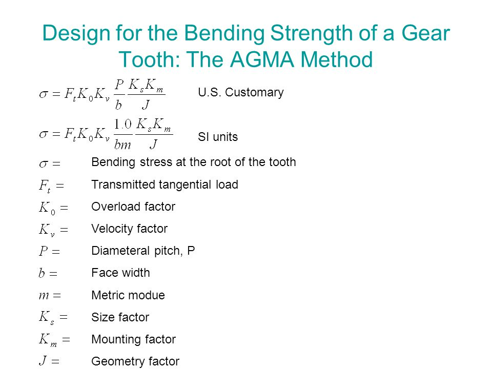 Design for the Bending Strength of a Gear Tooth: The AGMA Method U.S. Customary SI units Bending stress at the root of the tooth Transmitted tangentia