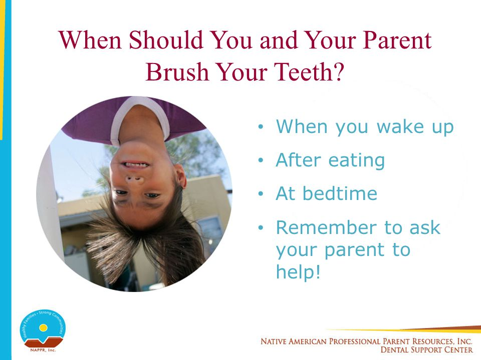 When Should You and Your Parent Brush Your Teeth? When you wake up After eating At bedtime Remember to ask your parent to help!