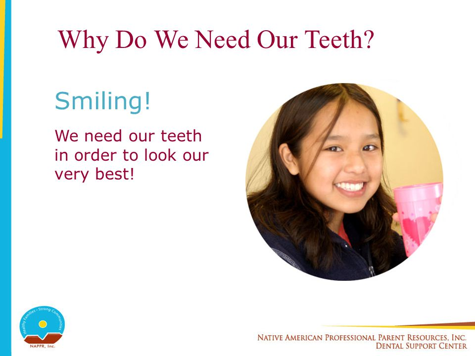 Why Do We Need Our Teeth? Smiling! We need our teeth in order to look our very best!