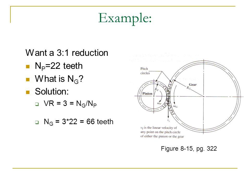 Example: Want a 3:1 reduction N P =22 teeth What is N G ? Solution: VR = 3 = N G /N P N G = 3*22 = 66 teeth Figure 8-15, pg. 322