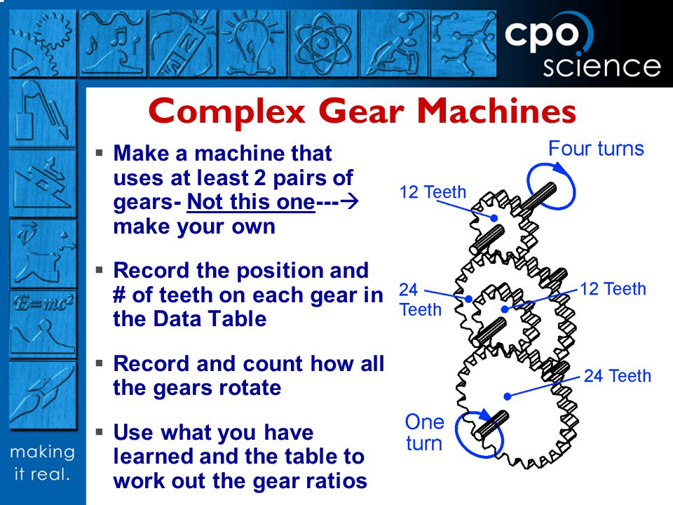 Complex Gear Machines Make a machine that uses at least 2 pairs of gears- Not this one--- make your own Record the position and # of teeth on each gea