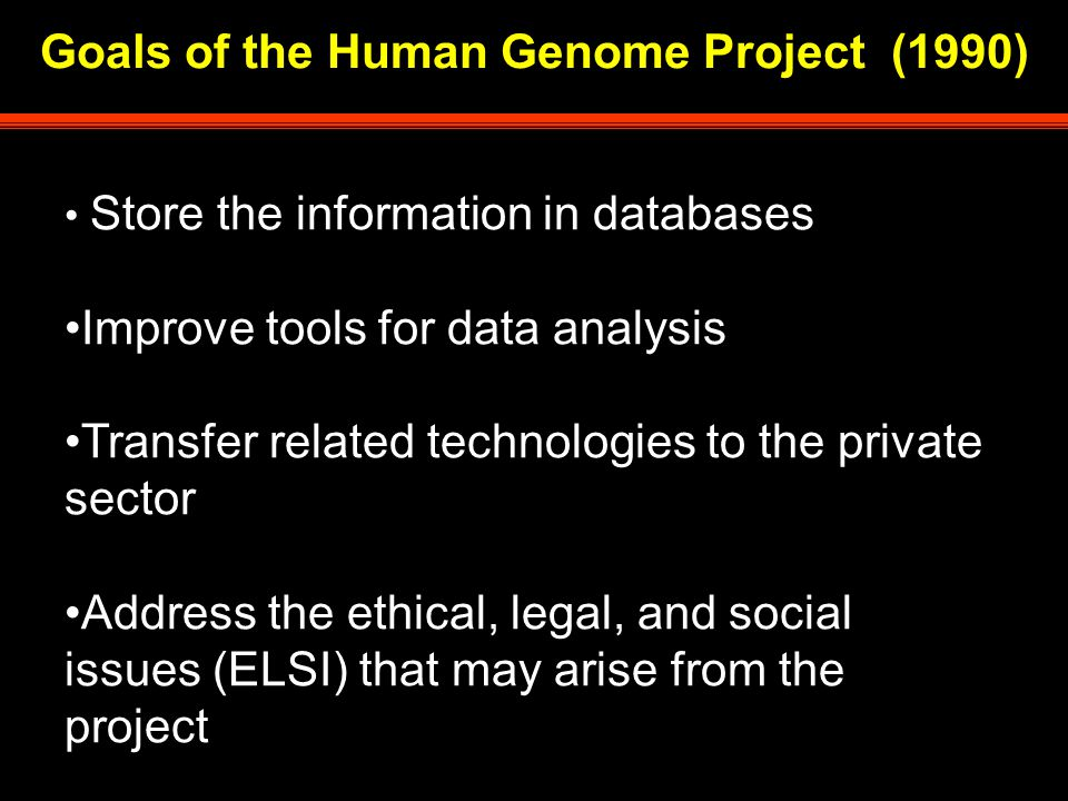 Goals of the Human Genome Project (1990) Store the information in databases Improve tools for data analysis Transfer related technologies to the private sector Address the ethical, legal, and social issues (ELSI) that may arise from the project