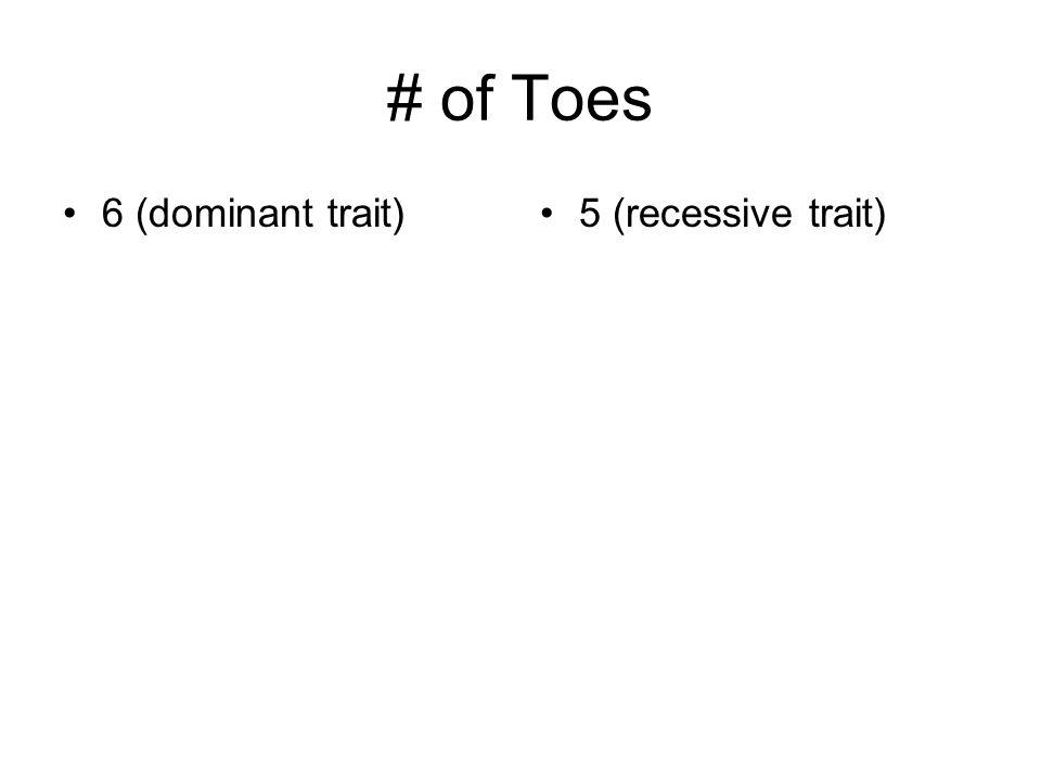 # of Toes 6 (dominant trait)5 (recessive trait)