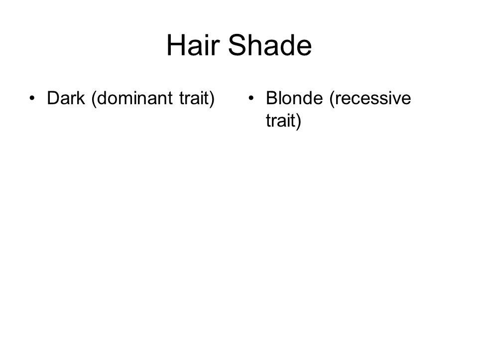 Hair Shade Dark (dominant trait)Blonde (recessive trait)