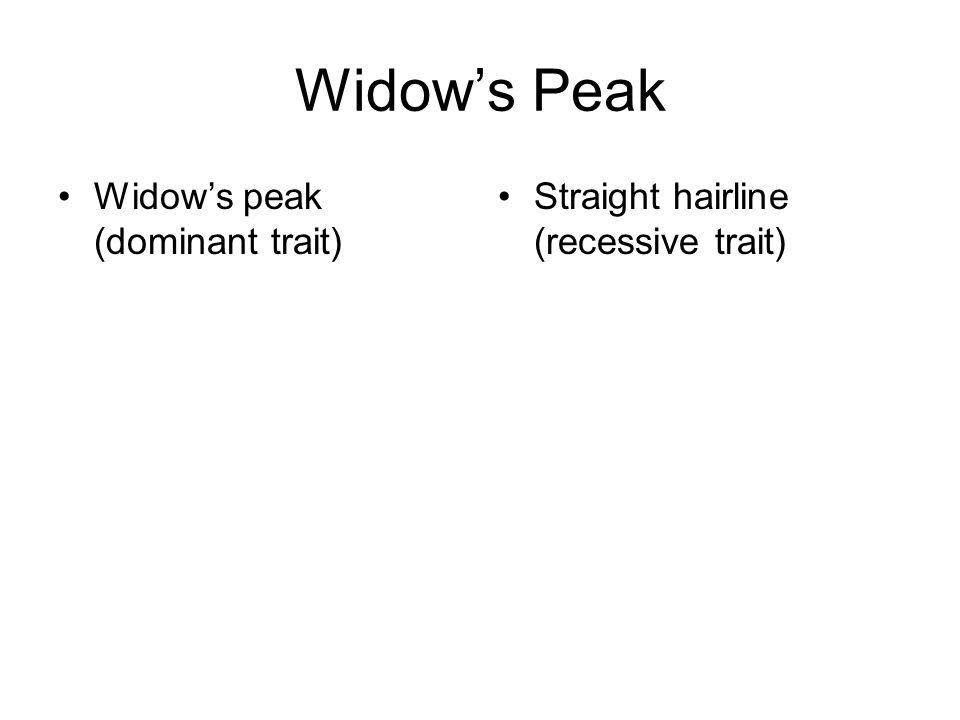 Widows Peak Widows peak (dominant trait) Straight hairline (recessive trait)