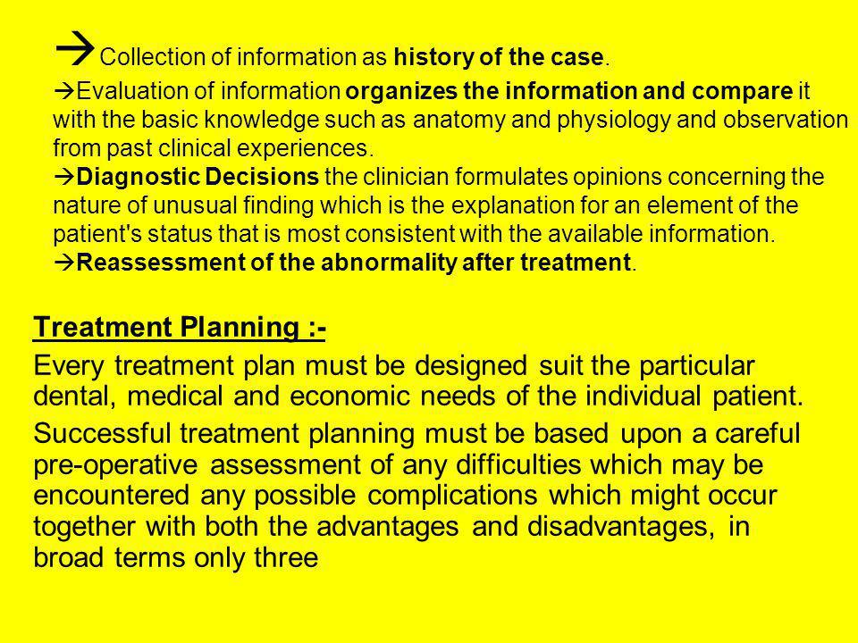 Collection of information as history of the case. Evaluation of information organizes the information and compare it with the basic knowledge such as