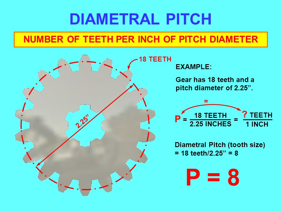 DIAMETRAL PITCH NUMBER OF TEETH PER INCH OF PITCH DIAMETER EXAMPLE: Gear has 18 teeth and a pitch diameter of 2.25. Diametral Pitch (tooth size) = 18