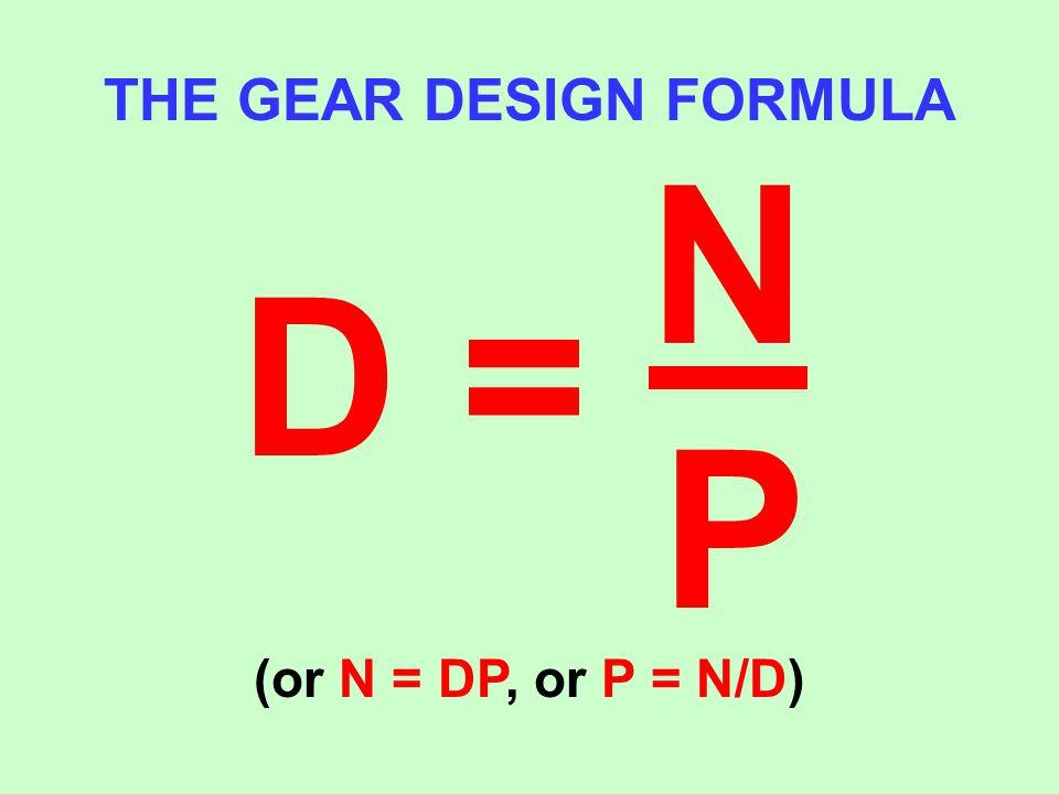 THE GEAR DESIGN FORMULA D = NPNP (or N = DP, or P = N/D)