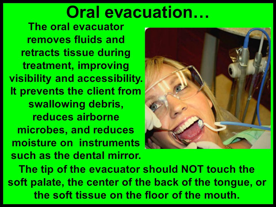 The dental assistant anticipates the next instrument needed by the dentist, and transfers it smoothly to the dentist over the clients chest. The denti