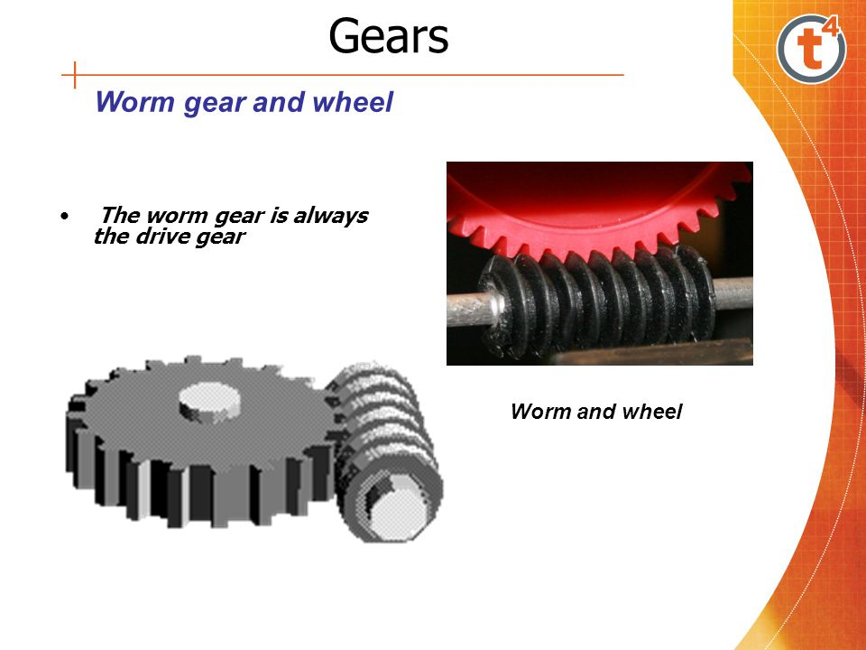 Gears The worm gear is always the drive gear Worm and wheel Worm gear and wheel