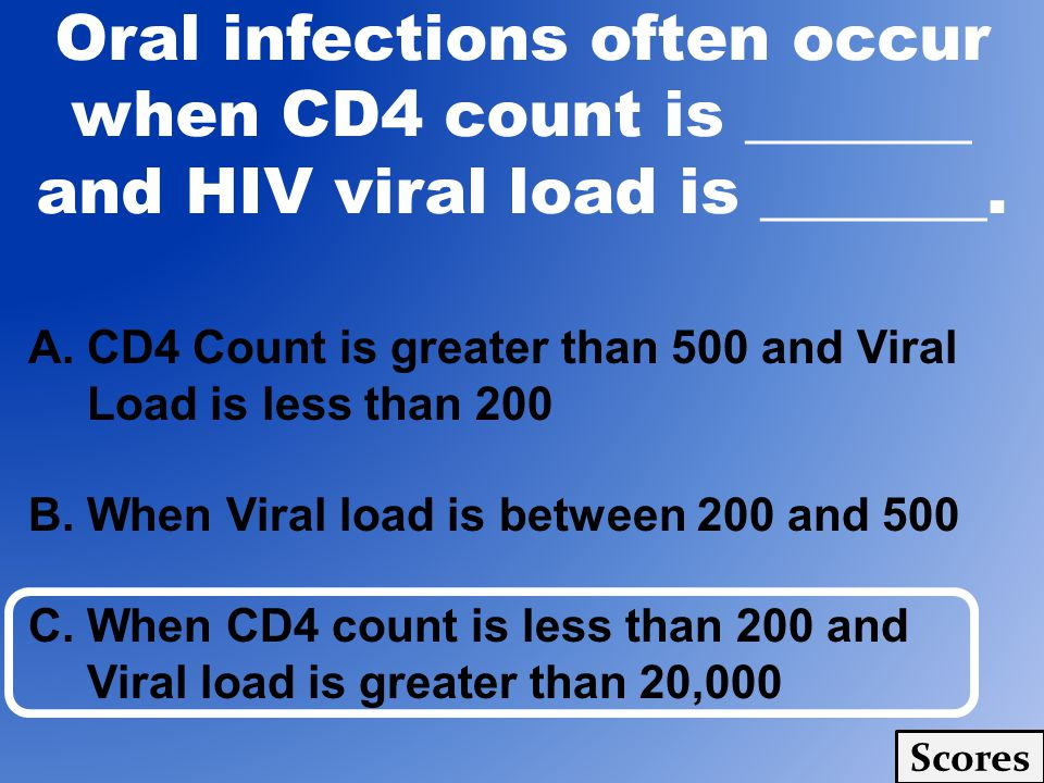 A.CD4 Count is greater than 500 and Viral Load is less than 200 B. When Viral load is between 200 and 500 C. When CD4 count is less than 200 and Viral