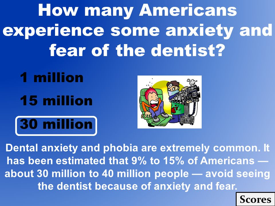 How many Americans experience some anxiety and fear of the dentist.