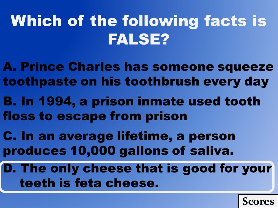 Which of the following facts is FALSE? Scores A. Prince Charles has someone squeeze toothpaste on his toothbrush every day B. In 1994, a prison inmate
