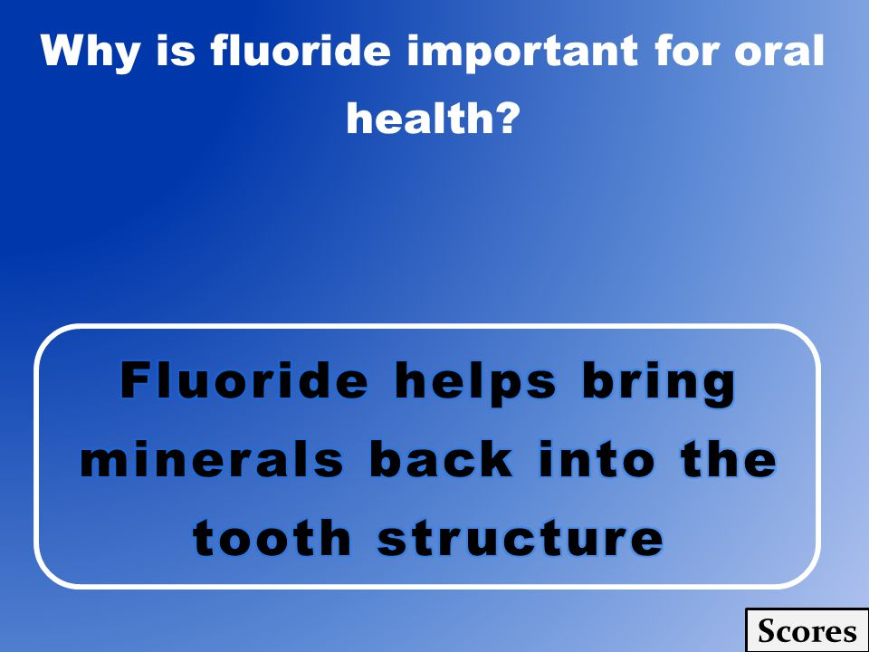 Why is fluoride important for oral health? Scores