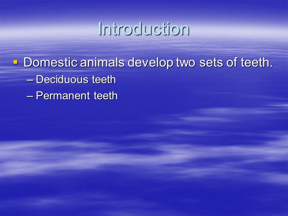 Introduction Domestic animals develop two sets of teeth. Domestic animals develop two sets of teeth. –Deciduous teeth –Permanent teeth