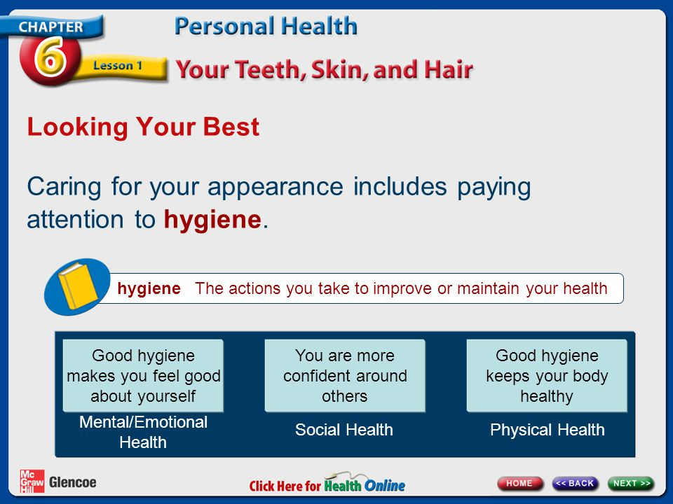 Looking Your Best Caring for your appearance includes paying attention to hygiene. hygiene The actions you take to improve or maintain your health Goo
