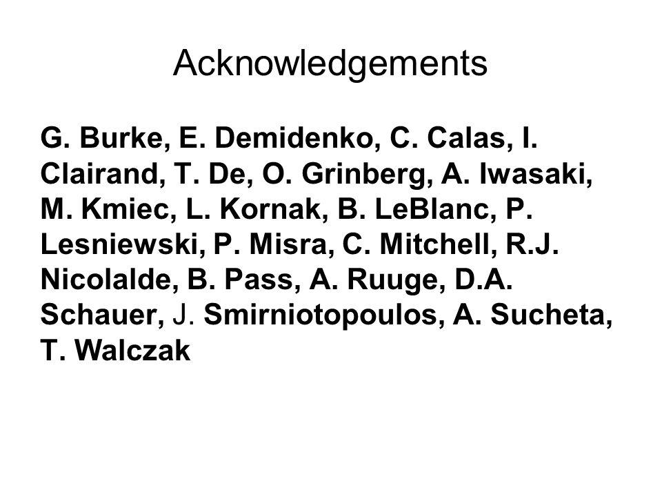Acknowledgements G.Burke, E. Demidenko, C. Calas, I.