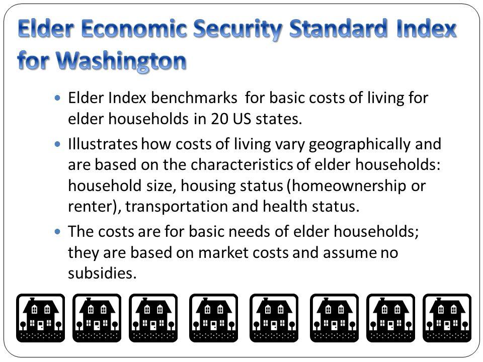 Elder Index benchmarks for basic costs of living for elder households in 20 US states.