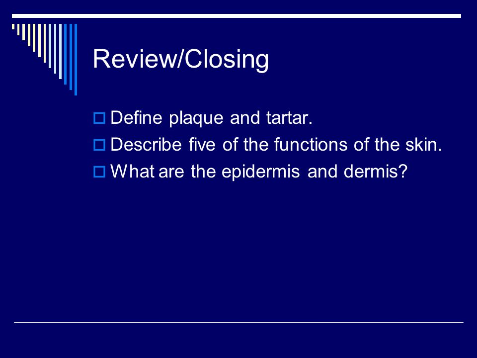 Review/Closing Define plaque and tartar.Describe five of the functions of the skin.