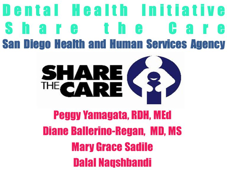 Company LOGO Dental Health Initiative Share the Care San Diego Health and Human Services Agency Peggy Yamagata, RDH, MEd Diane Ballerino-Regan, MD, MS Mary Grace Sadile Dalal Naqshbandi