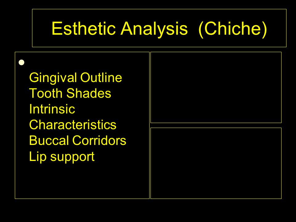 Esthetic Analysis (Chiche) Gingival Outline Tooth Shades Intrinsic Characteristics Buccal Corridors Lip support