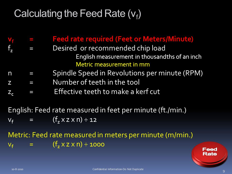 Calculating the Feed Rate (v f ) v f =Feed rate required (Feet or Meters/Minute) f z =Desired or recommended chip load English measurement in thousand