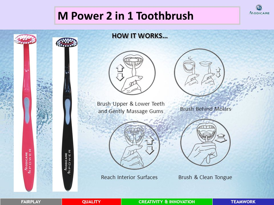 FAIRPLAYQUALITYCREATIVITY & INNOVATIONTEAMWORK HOW IT WORKS… Brush Behind Molars Brush Upper & Lower Teeth and Gently Massage Gums Reach Interior SurfacesBrush & Clean Tongue M Power 2 in 1 Toothbrush
