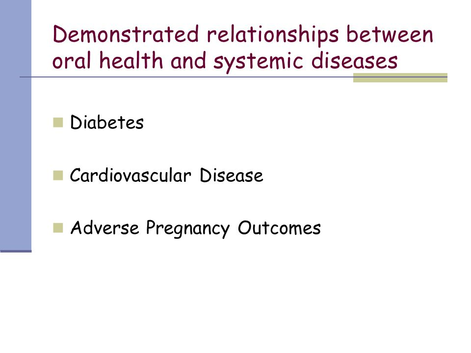 Demonstrated relationships between oral health and systemic diseases Diabetes Cardiovascular Disease Adverse Pregnancy Outcomes