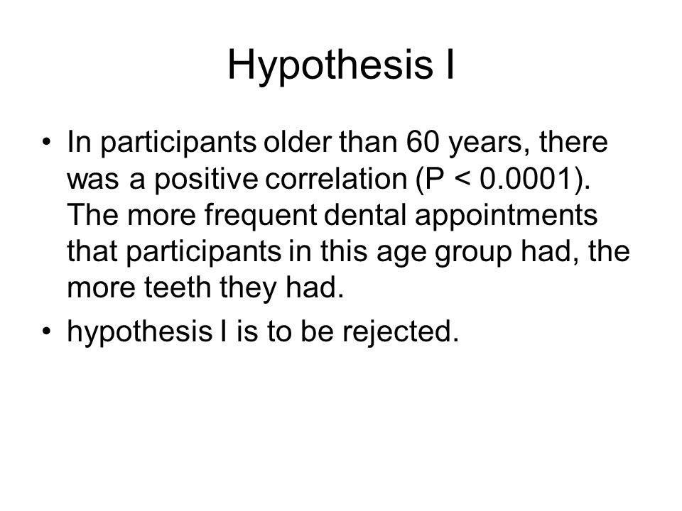 Hypothesis I In participants older than 60 years, there was a positive correlation (P < 0.0001). The more frequent dental appointments that participan
