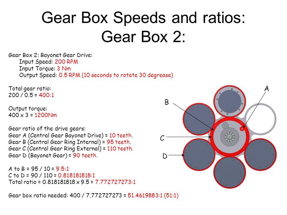 Gear Box Speeds and ratios: Gear Box 3: Gear Box 2: Bayonet Gear Drive: Input Speed: 200 RPM Input Torque: 3 Nm Output Speed: 25 RPM Total gear ratio: 200 / 25 = 8:1 Output torque: 8 x 3 = 24Nm Gear ratio of the drive gears: Gear A (Diffuser Drive Gear) = 45 teeth.