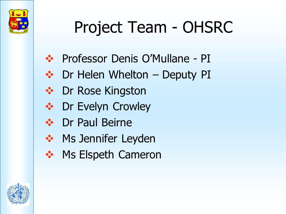 Project Team - OHSRC Professor Denis OMullane - PI Dr Helen Whelton – Deputy PI Dr Rose Kingston Dr Evelyn Crowley Dr Paul Beirne Ms Jennifer Leyden M