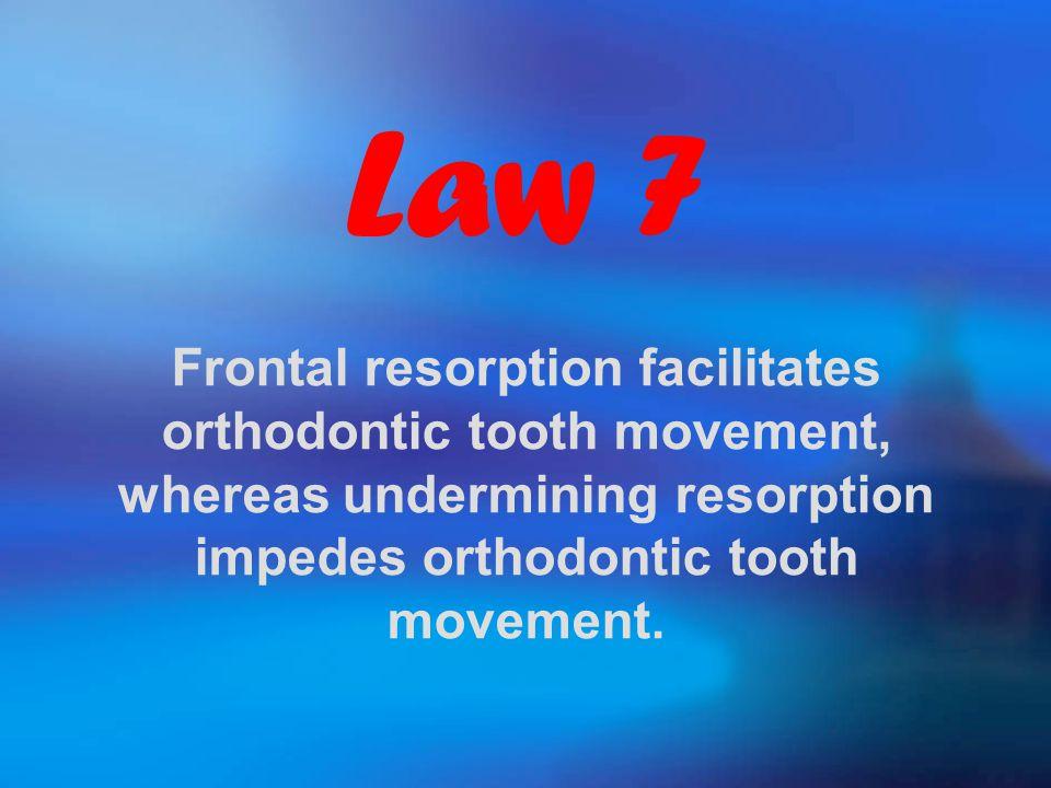 Law 7 Frontal resorption facilitates orthodontic tooth movement, whereas undermining resorption impedes orthodontic tooth movement.