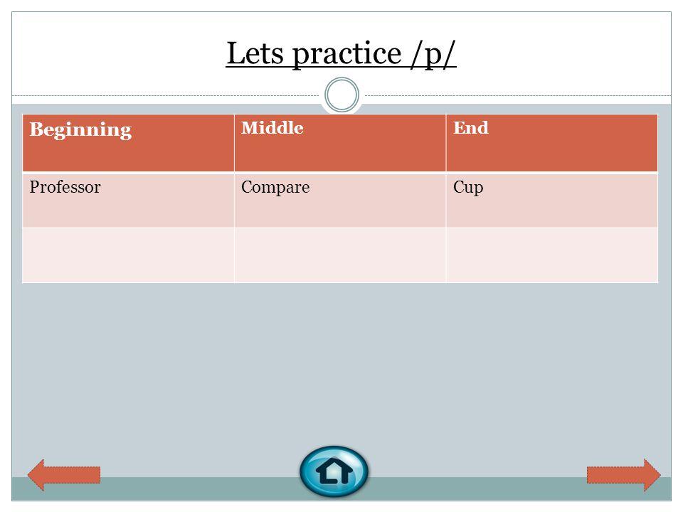 Lets practice /p/ Beginning MiddleEnd ProfessorCompareCup