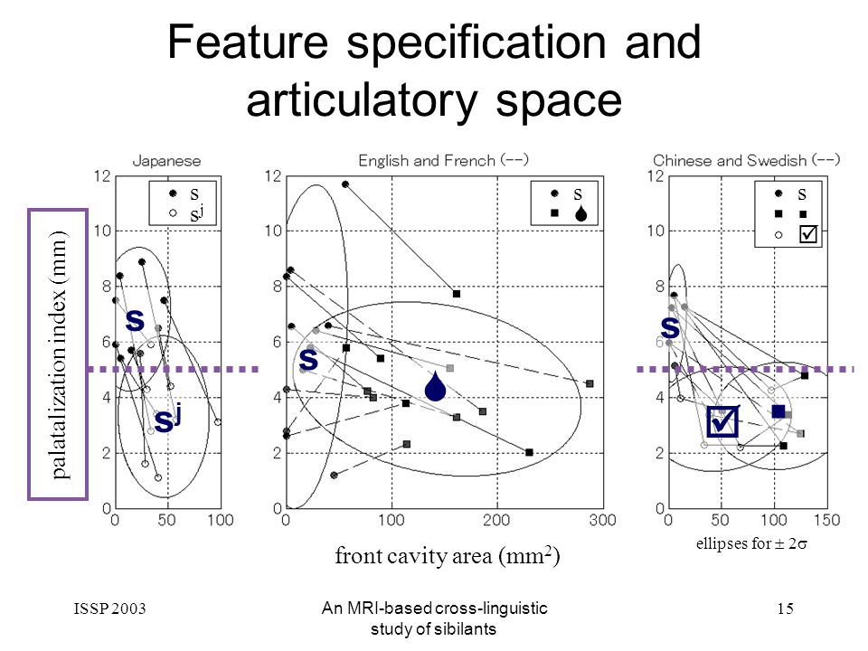 ISSP 2003An MRI-based cross-linguistic study of sibilants 15 front cavity area (mm 2 ) palatalization index (mm) s sjsj s s ellipses for 2 Feature specification and articulatory space s sjsj s s
