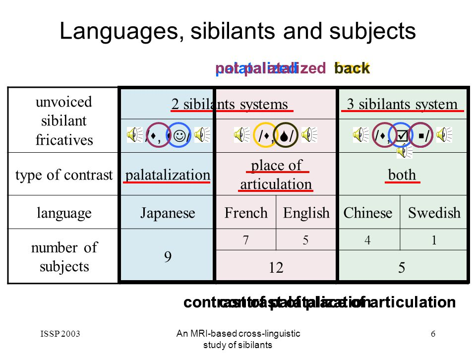 ISSP 2003An MRI-based cross-linguistic study of sibilants 6 Languages, sibilants and subjects unvoiced sibilant fricatives 3 sibilants system /s, s //s, //s,, / type of contrastpalatalization place of articulation both languageJapaneseFrenchEnglishChineseSwedish number of subjects 9 7541 125 2 sibilants systems front contrast of place of articulation back contrast of place of articulation palatalized contrast of palatalization not palatalized contrast of palatalization